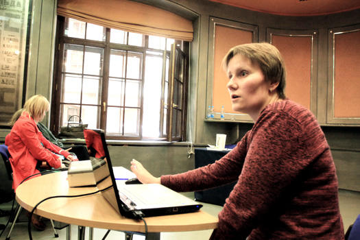 Мария Корьевкина делает доклад о технологии DITA